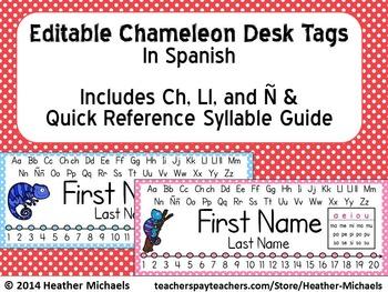 Editable Chameleon Desk Tags