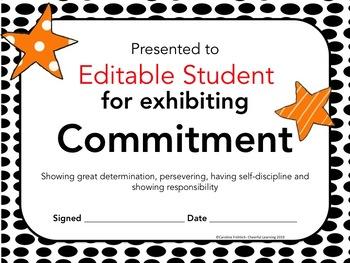 Editable Character Certificates