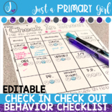 Editable Check in check out sheet