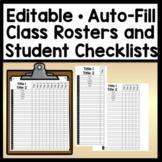 Editable Class List Templates {Editable with Auto-Fill!} {Student Checklists}
