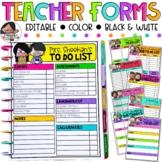 Editable Teacher Forms | Teacher Checklists + Google Slide