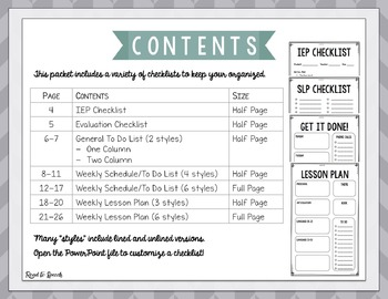 Editable Checklists for SLPs