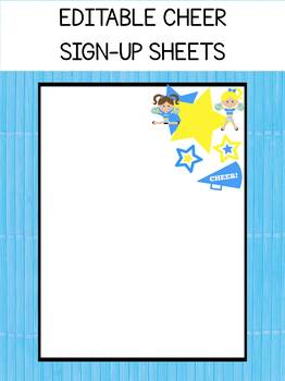 Editable Cheerleading Sign Up Sheets, Cheerleaders