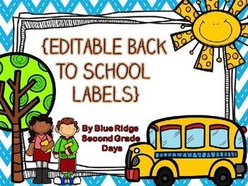 Editable Chevron Back To School Labels