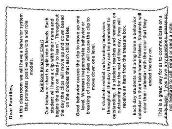 Editable Chevron Behavior Chart and Parent Letter