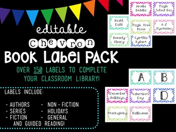 Editable Chevron Book Label PACK
