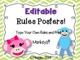 Editable Chevron Brights Rules Posters Monkeys
