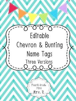 Editable Chevron & Bunting Desk Name Tags