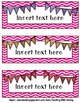 Editable Chevron Bunting Tray Labels