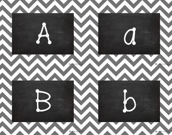{Editable} Chevron Chalkboard Classroom Labels - Gray