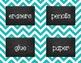 {Editable} Chevron Chalkboard Classroom Labels - Turquoise