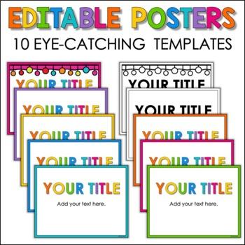 Editable Chevron Chalkboard Poster Frames