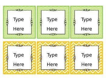 Editable Chevron Classroom Labels
