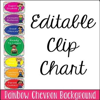 Editable Rainbow Chevron Clip Chart