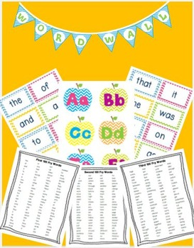 Editable Chevron Fry Word Wall and Sight Word Super Pack