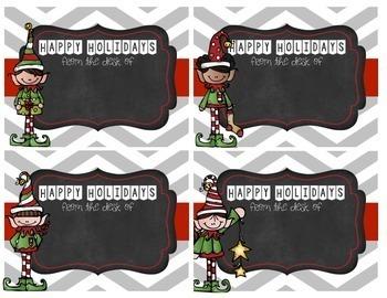 Editable Chevron Holiday Christmas Teacher Note Cards - BONUS Thank you Cards