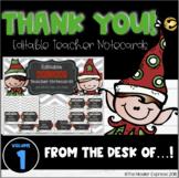 Holiday Elf Christmas Teacher Note Cards - EDITABLE, with BONUS Thank You Cards