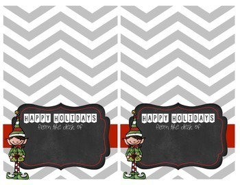 Holiday Elf Christmas Teacher Note Cards - EDITABLE, with BONUS Thank You Cards