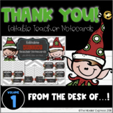 Holiday Elf Christmas Teacher Note Cards - EDITABLE, with