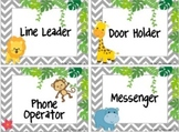 Editable Chevron Jungle Job Cards
