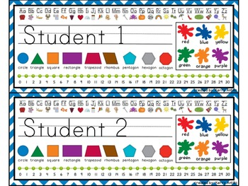 Editable Chevron Kindergarten Desk Name Tags- Number Lines to 30