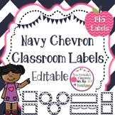 Editable Chevron Labels - 145 Classroom Labels