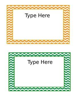 Editable Chevron Labels 5x7