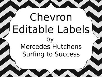 Editable Chevron Labels: Black and Silver