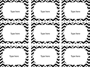Editable Chevron Labels: Black and White