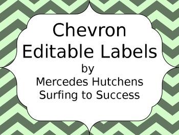 Editable Chevron Labels: Green on Green