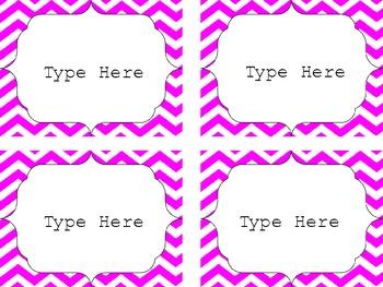 Editable Chevron Labels: Pink