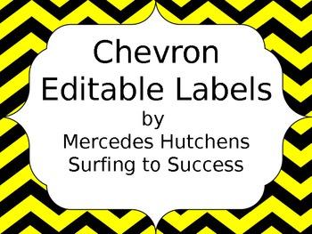 Editable Chevron Labels: Yellow and Black
