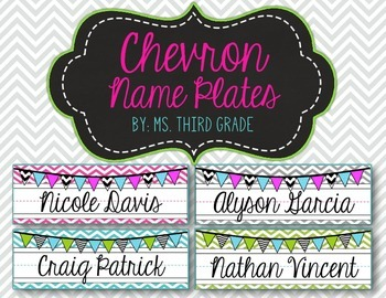 Editable Chevron Name Plates- Pink, Teal, Gray & Green