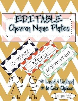 Editable Chevron Name Plates/Tags/Labels