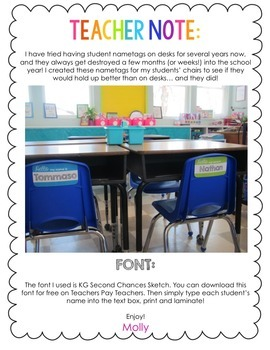 Editable Chevron Name Tags (for student chairs)