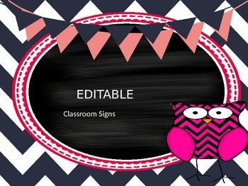 Editable Chevron Owl Classroom Signs