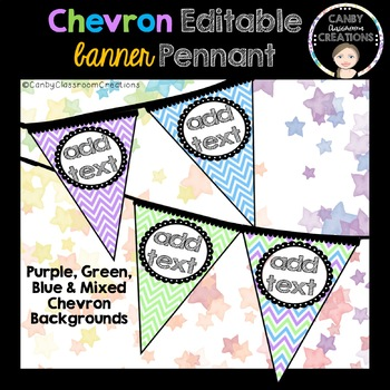 Editable Chevron Pennant (Purple, Green, Blue)
