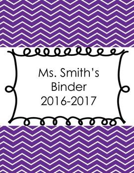 Editable Chevron Print Teacher Binder