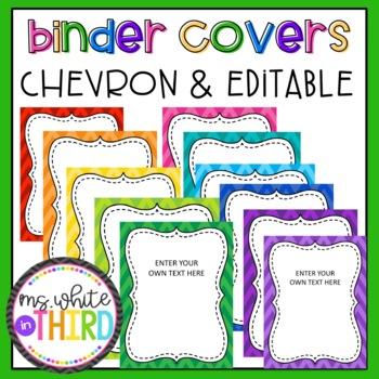 Editable Chevron/ Rainbow Binder Covers