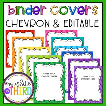 Editable Chevron/ Rainbow Binder Covers