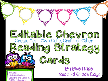 Editable Chevron Reading Strategy Cards: CRAFT, CAFE, or Make Your Own