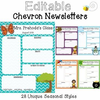 {Editable} Chevron Seasonal Newsletters