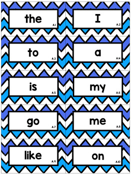 Editable Chevron Sight Word Flash Cards: Teachers College High Frequency Words