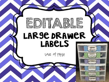 Editable Chevron Sterilite Large Drawer Labels