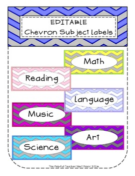 Editable Chevron Subject Labels