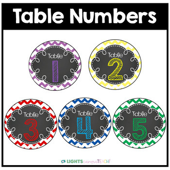 Editable Chevron Table Numbers and Labels