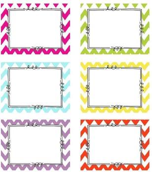 Editable Chevron Tags- Classroom Labels 6 BRIGHT chevron colors
