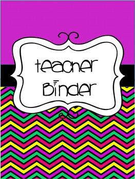 Editable Chevron Teacher Binder