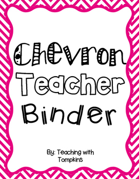 Editable Chevron Teacher Binder in Pink, Purple, Green and Blue