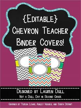 {Editable} Chevron Teacher Binder Covers!